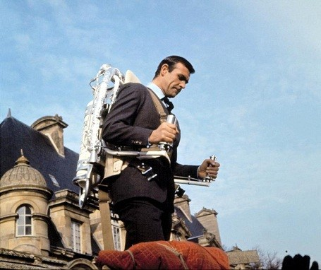 "James bond wearing the Bell Rocket Belt in ""Thunderball"""