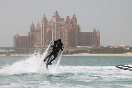 Man using Jetlev Jet pack
