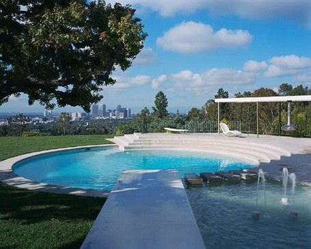 The pool at their Beverly Hills mansion