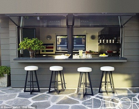 Home theater kitchen at Courtney Cox's Malibu Mansion