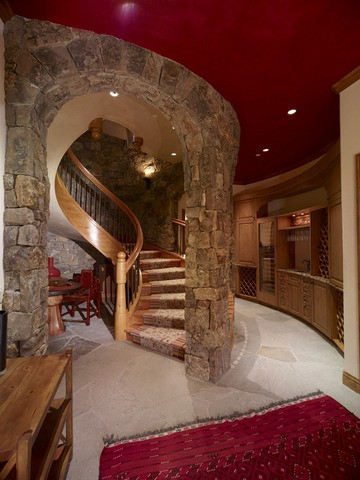 Spiral staircase to the wine cellar