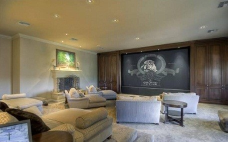 The screening room in Mark Wahlberg's Beverly Hills Estate