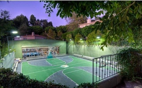 Basketball court in Mark Wahlberg's Beverly Hills Estate