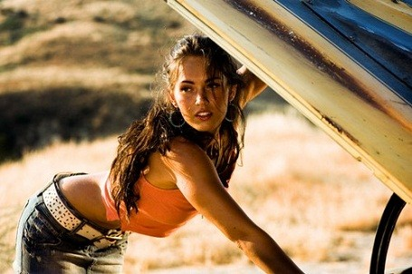 Megan Fox pretending to fix a car in transformers