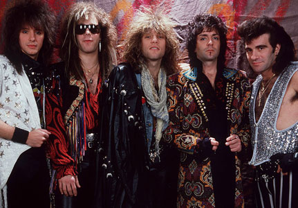 Jon Bon Jovi and his band in the 1980s