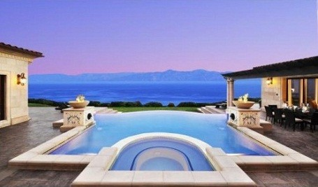 View of the Pacific Ocean from Donald Trump's infinity pool at his Palos Verdes home
