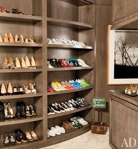 Ellen DeGeneres and Portia De Rossi's shoe closet in their Beverly Hills home