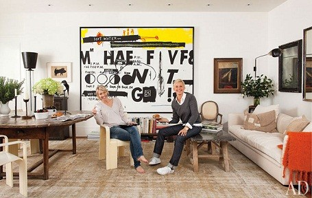 Ellen DeGeneres and Portia De Rossi in their Beverly Hills estate art room