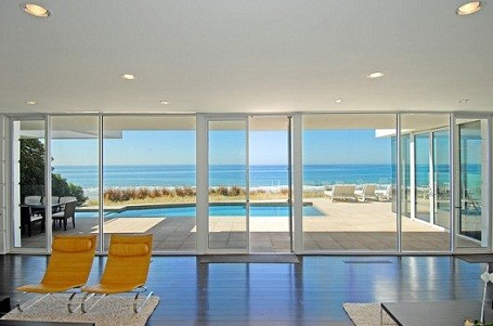 View from inside Paul Allen's Malibu home on Carbon Beach