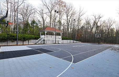 50 Cent's basketball court behind his house in Farmington, Connecticut.