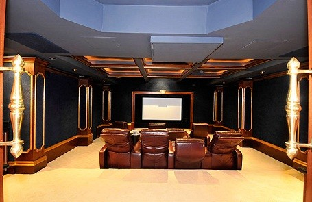Home theater inside 50 Cent's home in Farmington, Connecticut.