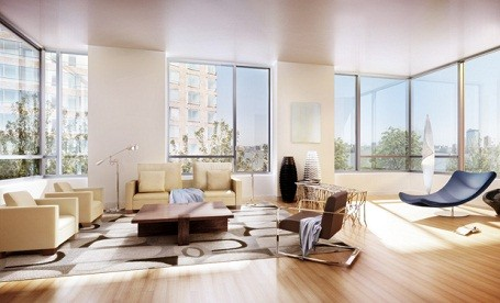 Living room in the Riverhouse condo where Leonardo DiCaprio lives