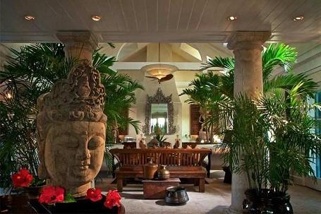 Lobby in the Musha Cay island resort.