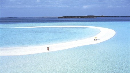 Musha Cay sandbar at David Copperfield's private Bahamas island.