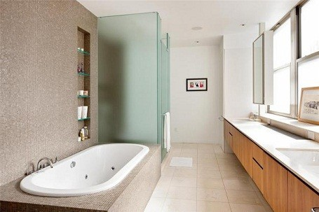 Bathroom in Damon Dash's foreclosed Tribeca loft in New York City.