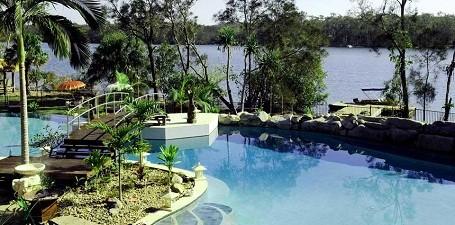 Pool at Richard Branson's Makepeace Island resort in Australia.