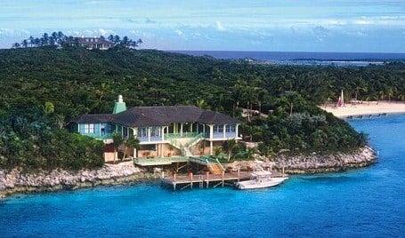 Beach house on David Copperfield's Musha Cay island.