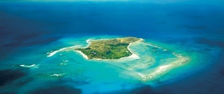 Aerial view of Richard Branson's Necker Island.