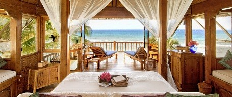Ocean view room in the Necker Island resort.