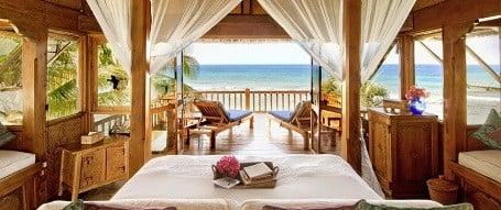 Ocean view room in the Necker Island resort.