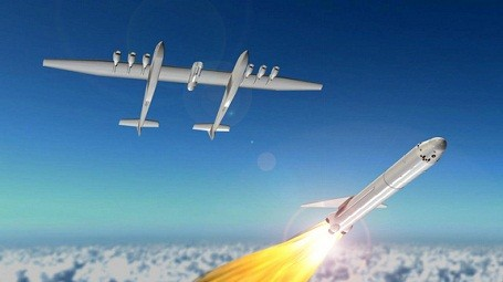Space rocket deploying from the Stratolaunch