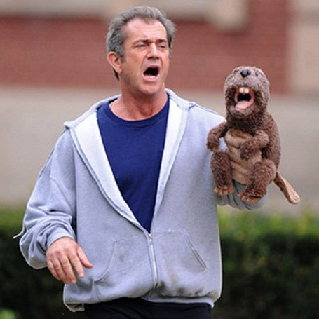 Mel Gibson and a beaver hand puppet.