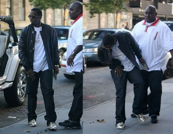 Puff Daddy Steps in dog poo.