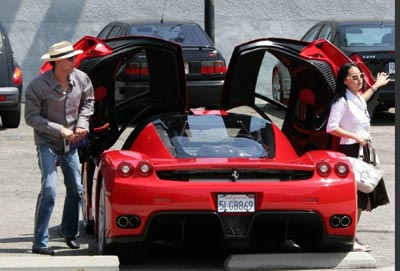Nicolas Cage's red Ferrari Enzo
