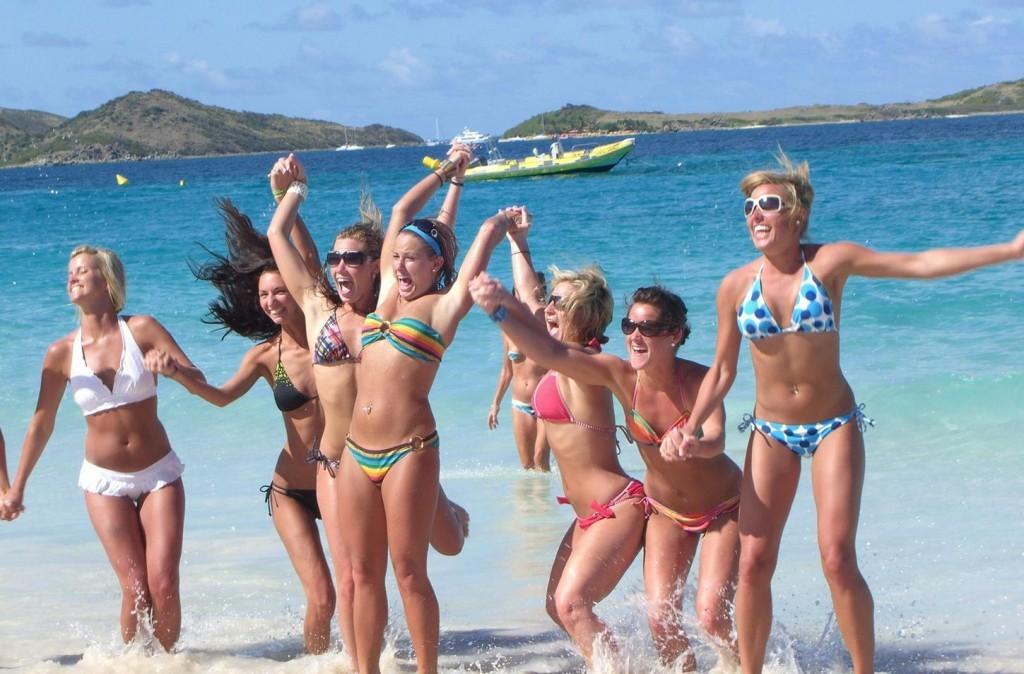 Bikini Girls Jumping up and Down