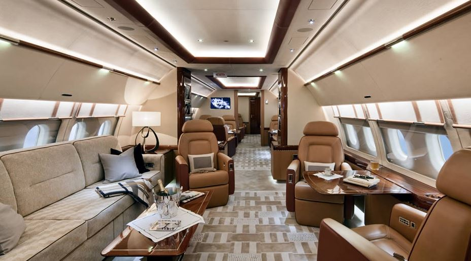 Luxurious Private Jet Interior