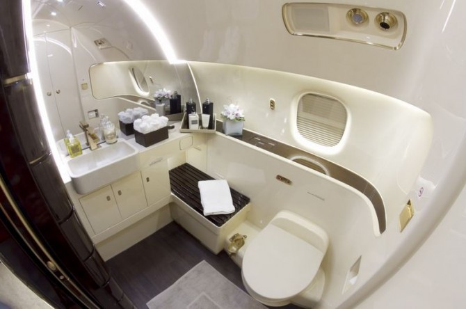 If you were a billionaire this is the private jet you for Private jet bathroom