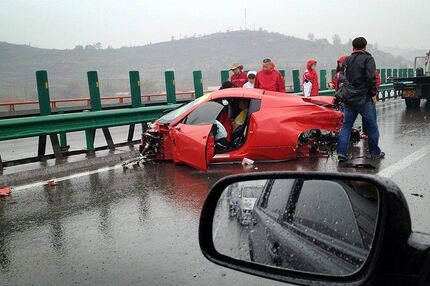 How Not To Drive A Ferrari On A Rainy Chinese Highway