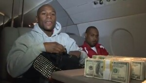 Thumbnail for Floyd Mayweather Counts $1 Million in Cash on Private Jet After Getting Out of Jail