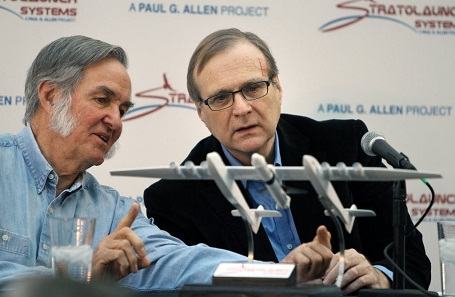 Paul Allen presenting his Stratolaunch commercial space program.