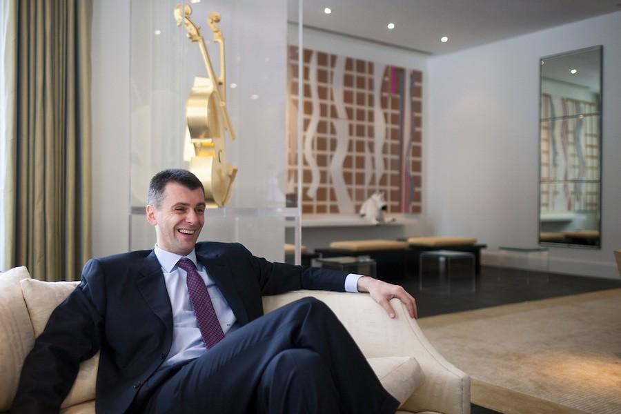 Mikhail Prokhorov laughing
